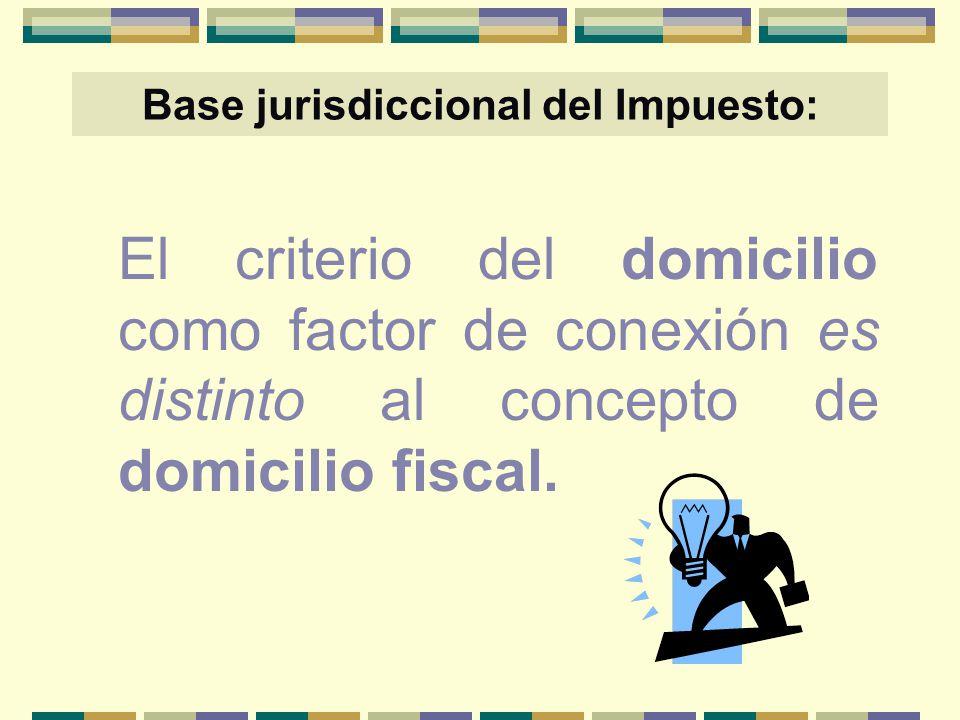 Base jurisdiccional del Impuesto: El criterio del domicilio como factor de conexión es distinto al concepto de domicilio fiscal.