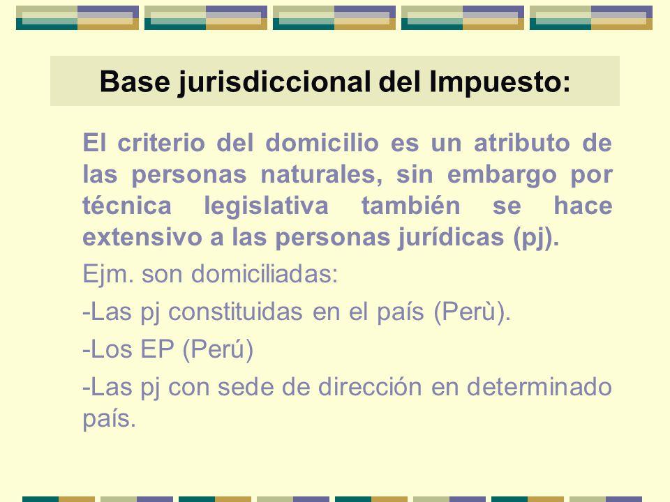 Base jurisdiccional del Impuesto: El criterio del domicilio es un atributo de las personas naturales, sin embargo por técnica legislativa también se h