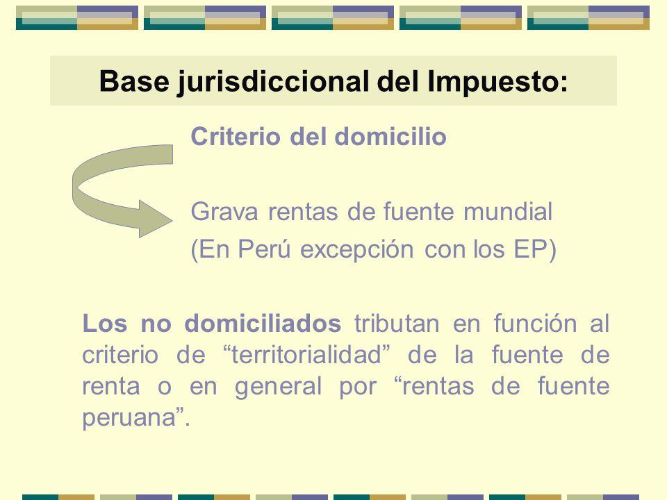 Base jurisdiccional del Impuesto: Criterio del domicilio Grava rentas de fuente mundial (En Perú excepción con los EP) Los no domiciliados tributan en