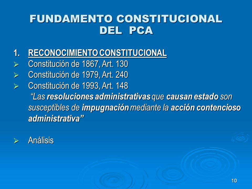 10 FUNDAMENTO CONSTITUCIONAL DEL PCA 1.RECONOCIMIENTO CONSTITUCIONAL Constitución de 1867, Art. 130 Constitución de 1867, Art. 130 Constitución de 197
