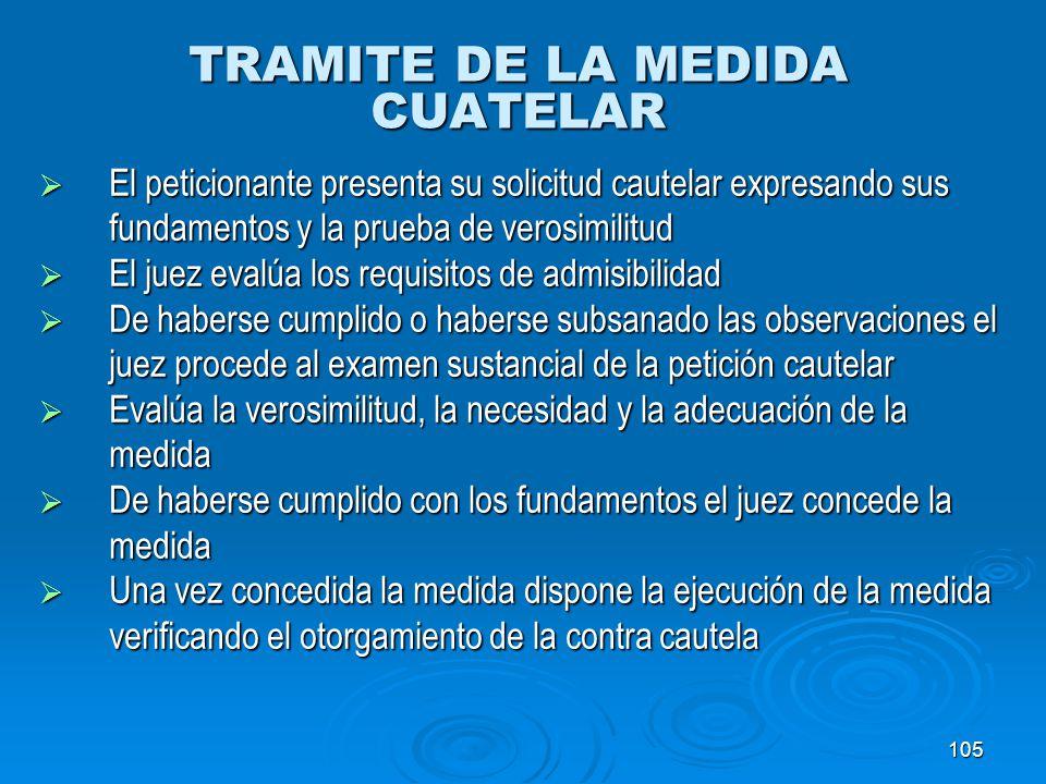 105 TRAMITE DE LA MEDIDA CUATELAR El peticionante presenta su solicitud cautelar expresando sus El peticionante presenta su solicitud cautelar expresa
