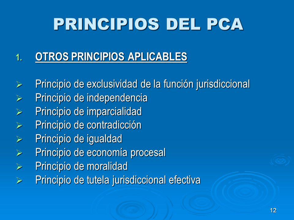 12 PRINCIPIOS DEL PCA 1. OTROS PRINCIPIOS APLICABLES Principio de exclusividad de la función jurisdiccional Principio de exclusividad de la función ju