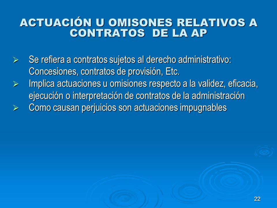 22 ACTUACIÓN U OMISONES RELATIVOS A CONTRATOS DE LA AP Se refiera a contratos sujetos al derecho administrativo: Concesiones, contratos de provisión,