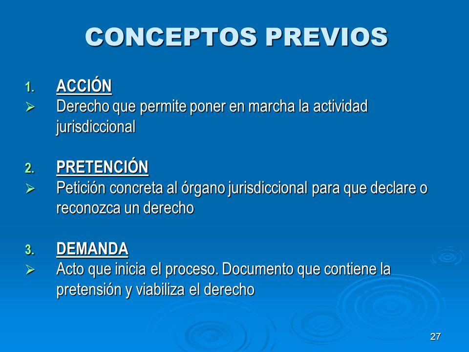 27 CONCEPTOS PREVIOS 1. ACCIÓN Derecho que permite poner en marcha la actividad jurisdiccional Derecho que permite poner en marcha la actividad jurisd