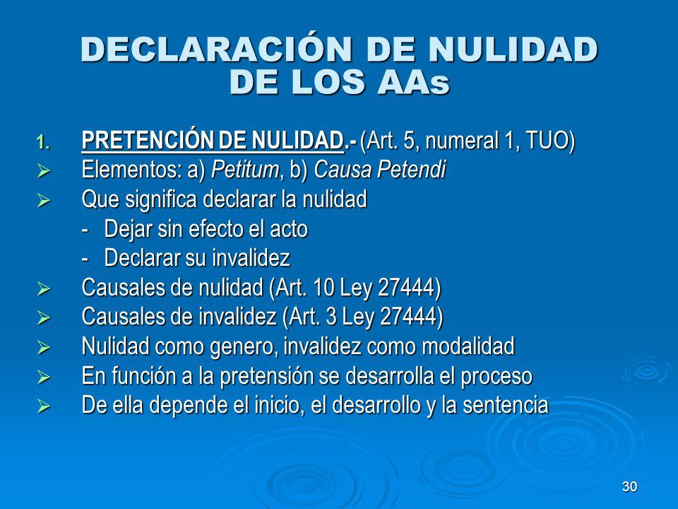 30 DECLARACIÓN DE NULIDAD DE LOS AAs 1. PRETENCIÓN DE NULIDAD.- (Art. 5, numeral 1, TUO) Elementos: a) Petitum, b) Causa Petendi Elementos: a) Petitum