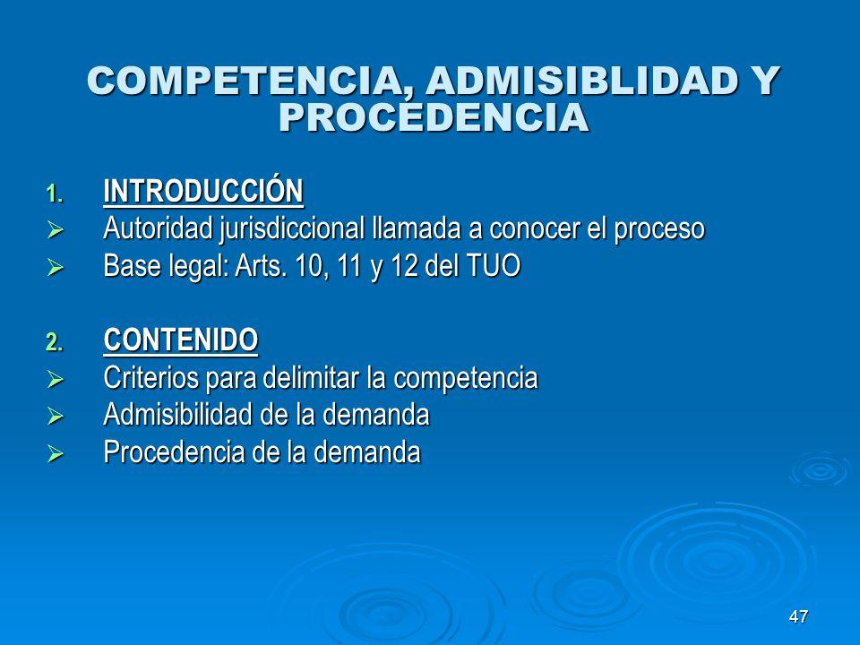 47 COMPETENCIA, ADMISIBLIDAD Y PROCEDENCIA 1. INTRODUCCIÓN Autoridad jurisdiccional llamada a conocer el proceso Autoridad jurisdiccional llamada a co