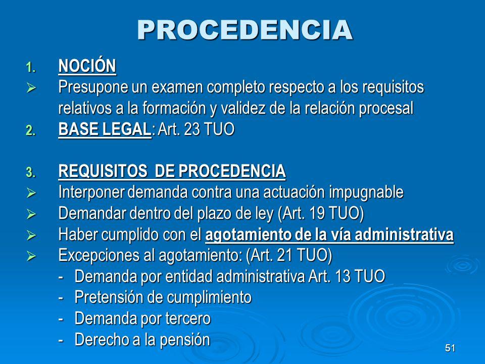 51PROCEDENCIA 1. NOCIÓN Presupone un examen completo respecto a los requisitos relativos a la formación y validez de la relación procesal Presupone un
