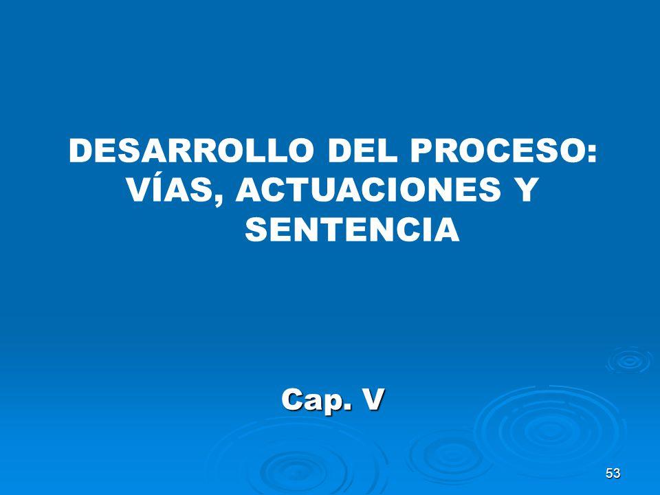 53 DESARROLLO DEL PROCESO: VÍAS, ACTUACIONES Y SENTENCIA Cap. V