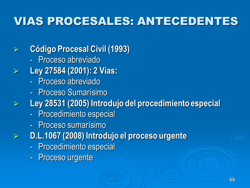 55 VIAS PROCESALES: ANTECEDENTES Código Procesal Civil (1993) Código Procesal Civil (1993) -Proceso abreviado Ley 27584 (2001): 2 Vías: Ley 27584 (200