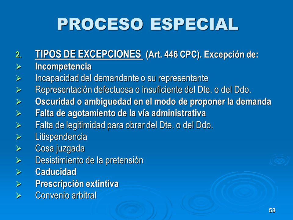 58 PROCESO ESPECIAL 2. TIPOS DE EXCEPCIONES (Art. 446 CPC). Excepción de: Incompetencia Incompetencia Incapacidad del demandante o su representante In