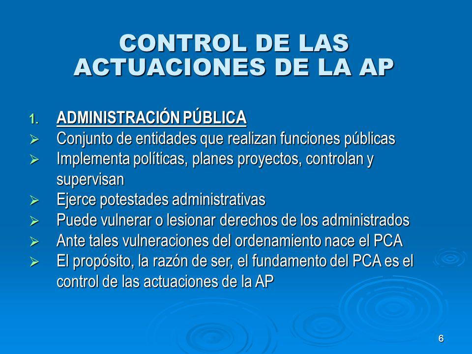 6 CONTROL DE LAS ACTUACIONES DE LA AP 1. ADMINISTRACIÓN PÚBLIC A Conjunto de entidades que realizan funciones públicas Conjunto de entidades que reali