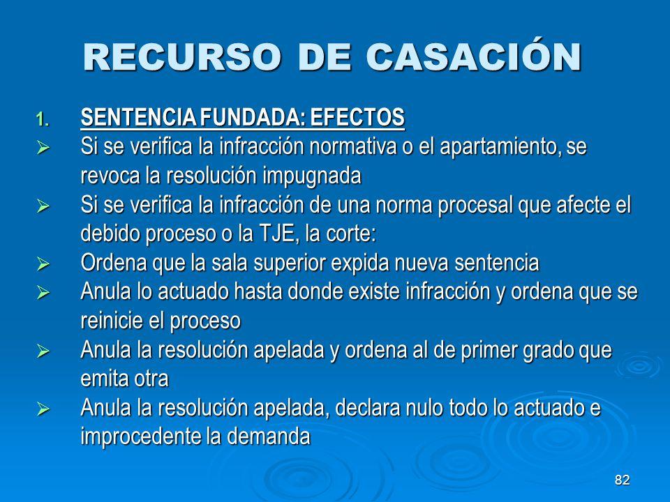 82 RECURSO DE CASACIÓN 1. SENTENCIA FUNDADA: EFECTOS Si se verifica la infracción normativa o el apartamiento, se revoca la resolución impugnada Si se