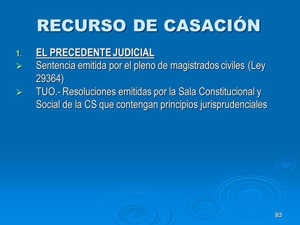83 RECURSO DE CASACIÓN 1. EL PRECEDENTE JUDICIAL Sentencia emitida por el pleno de magistrados civiles (Ley 29364) Sentencia emitida por el pleno de m