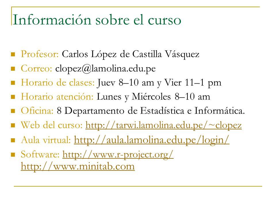 Información sobre el curso Profesor: Carlos López de Castilla Vásquez Correo: clopez@lamolina.edu.pe Horario de clases: Juev 8–10 am y Vier 11–1 pm Ho