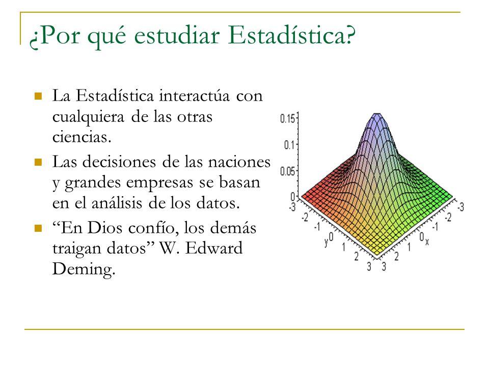 ¿Por qué estudiar Estadística? La Estadística interactúa con cualquiera de las otras ciencias. Las decisiones de las naciones y grandes empresas se ba