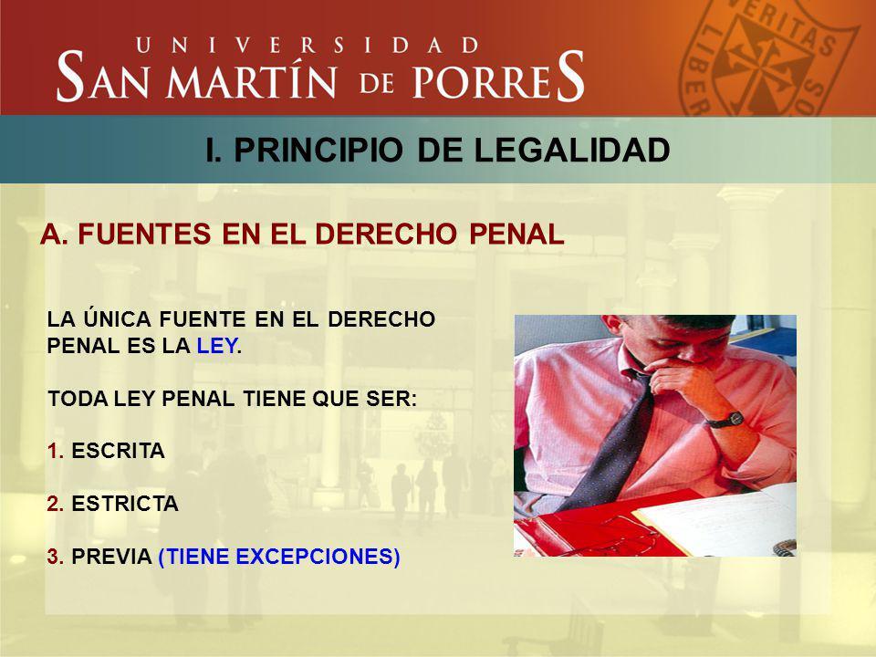 I. PRINCIPIO DE LEGALIDAD A. FUENTES EN EL DERECHO PENAL LA ÚNICA FUENTE EN EL DERECHO PENAL ES LA LEY. TODA LEY PENAL TIENE QUE SER: 1. ESCRITA 2. ES