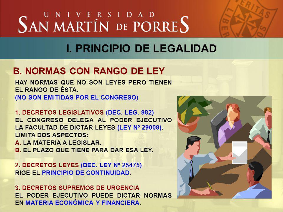 I. PRINCIPIO DE LEGALIDAD B. NORMAS CON RANGO DE LEY HAY NORMAS QUE NO SON LEYES PERO TIENEN EL RANGO DE ÉSTA. (NO SON EMITIDAS POR EL CONGRESO) 1. DE