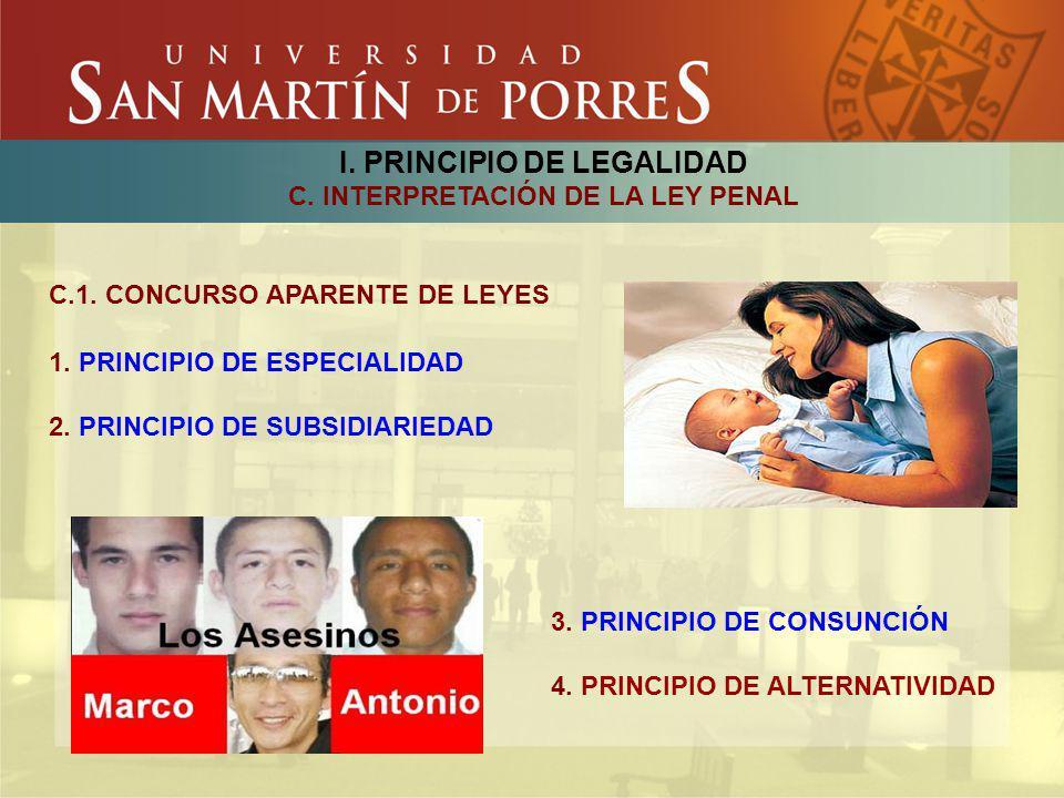 I. PRINCIPIO DE LEGALIDAD C. INTERPRETACIÓN DE LA LEY PENAL C.1. CONCURSO APARENTE DE LEYES 1. PRINCIPIO DE ESPECIALIDAD 2. PRINCIPIO DE SUBSIDIARIEDA