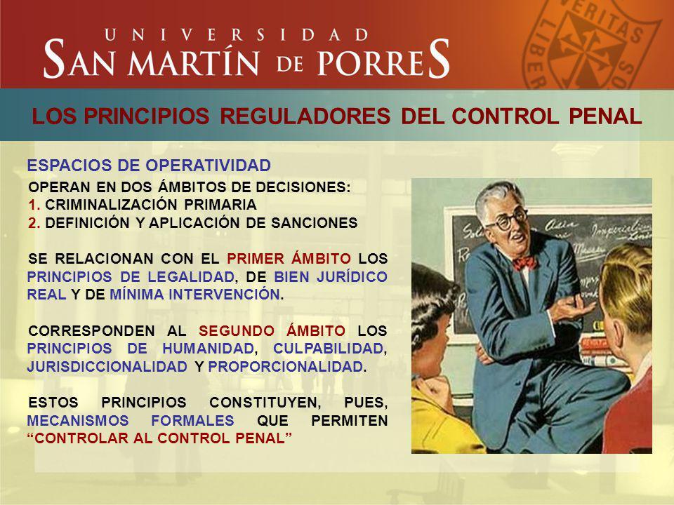 LOS PRINCIPIOS REGULADORES DEL CONTROL PENAL ESPACIOS DE OPERATIVIDAD OPERAN EN DOS ÁMBITOS DE DECISIONES: 1. CRIMINALIZACIÓN PRIMARIA 2. DEFINICIÓN Y