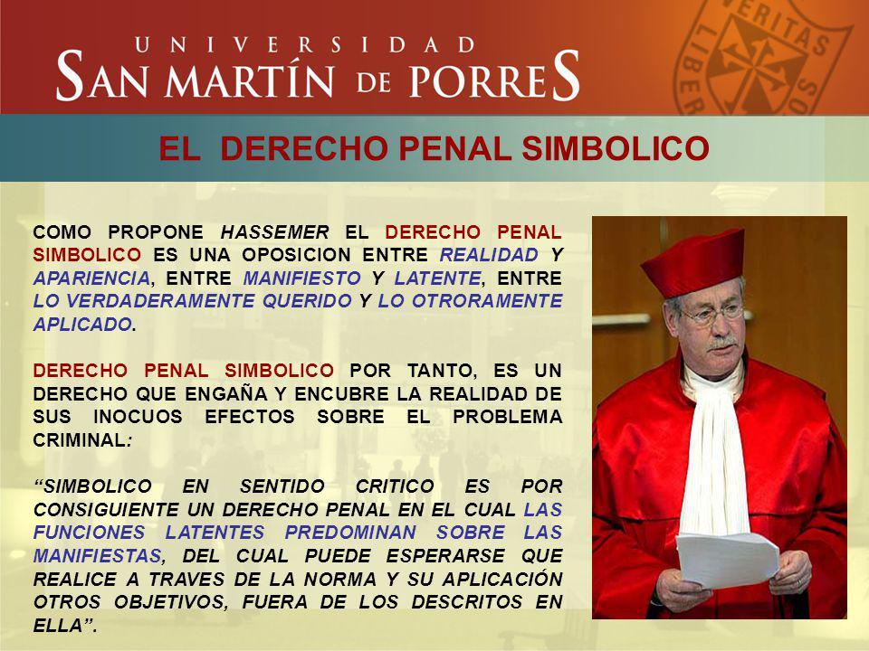 EL DERECHO PENAL SIMBOLICO COMO PROPONE HASSEMER EL DERECHO PENAL SIMBOLICO ES UNA OPOSICION ENTRE REALIDAD Y APARIENCIA, ENTRE MANIFIESTO Y LATENTE,