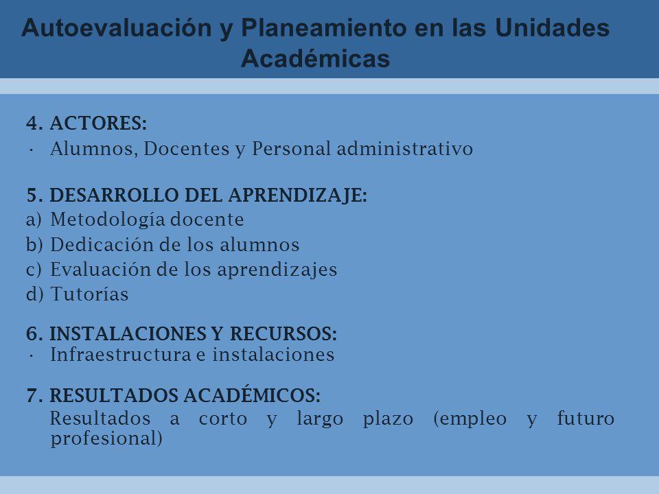 Autoevaluación y Planeamiento en las Unidades Académicas 4.