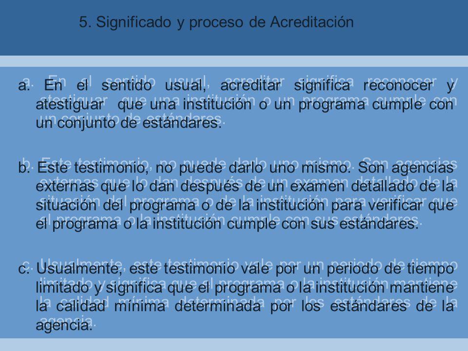 5.Significado y proceso de Acreditación a.
