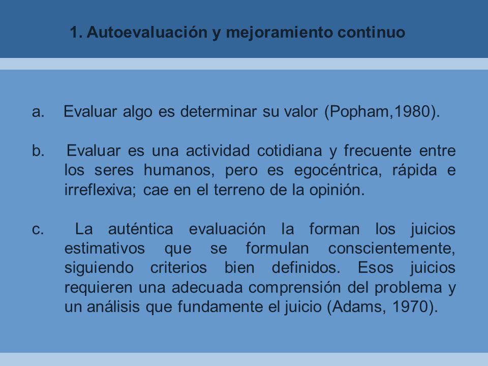 a.Evaluar algo es determinar su valor (Popham,1980).