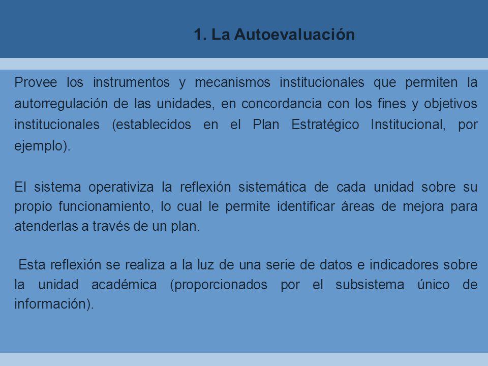 Provee los instrumentos y mecanismos institucionales que permiten la autorregulación de las unidades, en concordancia con los fines y objetivos institucionales (establecidos en el Plan Estratégico Institucional, por ejemplo).