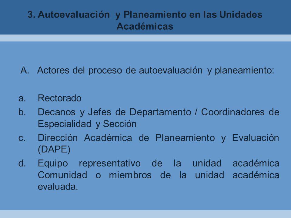 3.Autoevaluación y Planeamiento en las Unidades Académicas A.