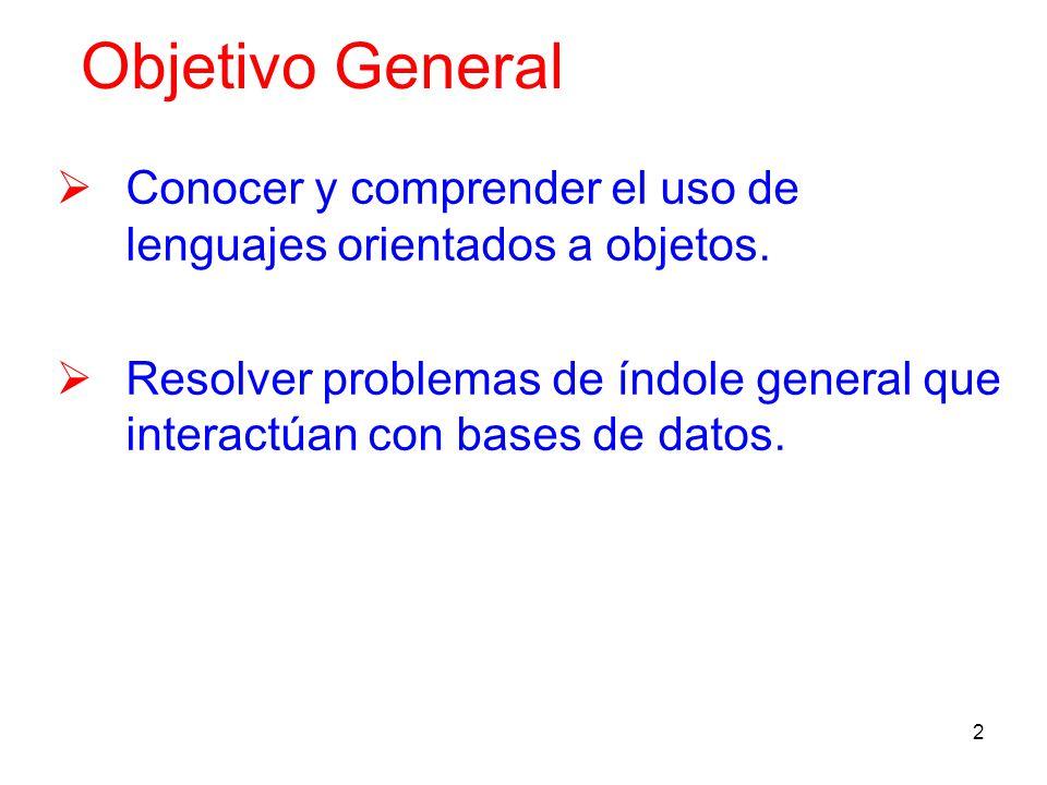 2 Objetivo General Conocer y comprender el uso de lenguajes orientados a objetos. Resolver problemas de índole general que interactúan con bases de da