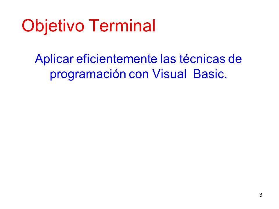 4 Objetivo Instruccional Presentar las características generales del Visual Basic, junto con algunos problemas sencillos que den idea de la potencia del lenguaje y del modo como se utiliza
