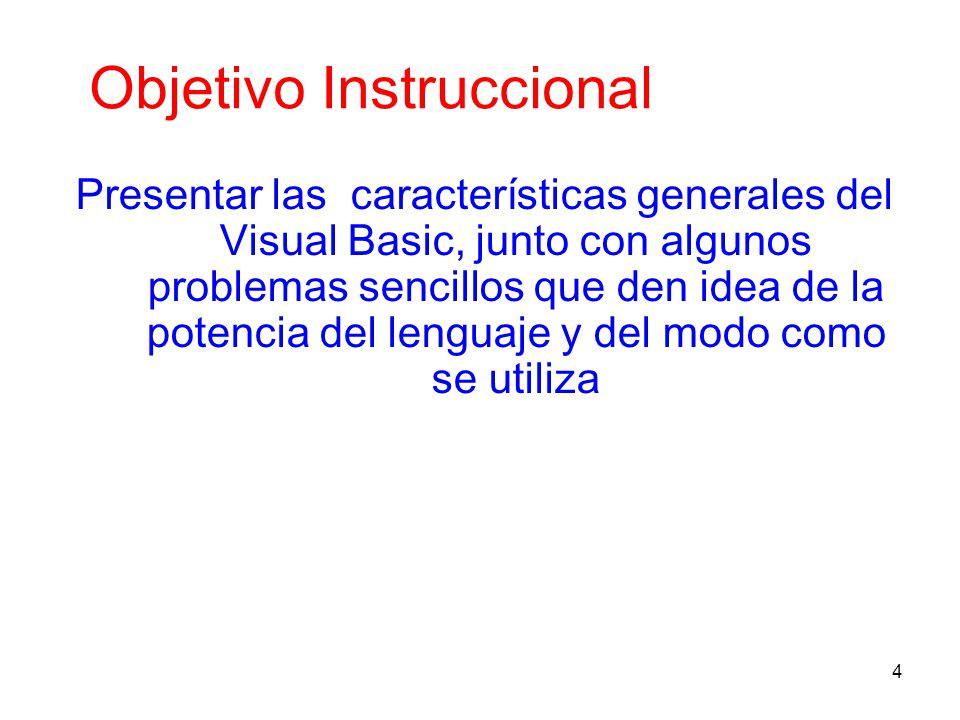 4 Objetivo Instruccional Presentar las características generales del Visual Basic, junto con algunos problemas sencillos que den idea de la potencia d