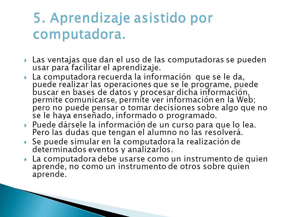 Las ventajas que dan el uso de las computadoras se pueden usar para facilitar el aprendizaje.