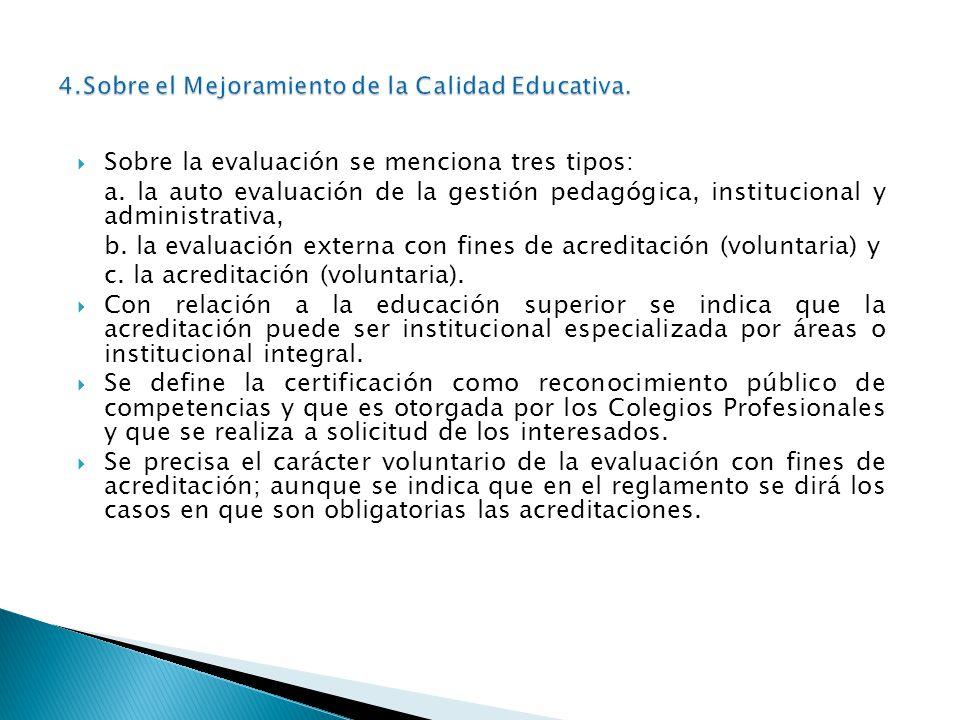 Sobre la evaluación se menciona tres tipos: a. la auto evaluación de la gestión pedagógica, institucional y administrativa, b. la evaluación externa c