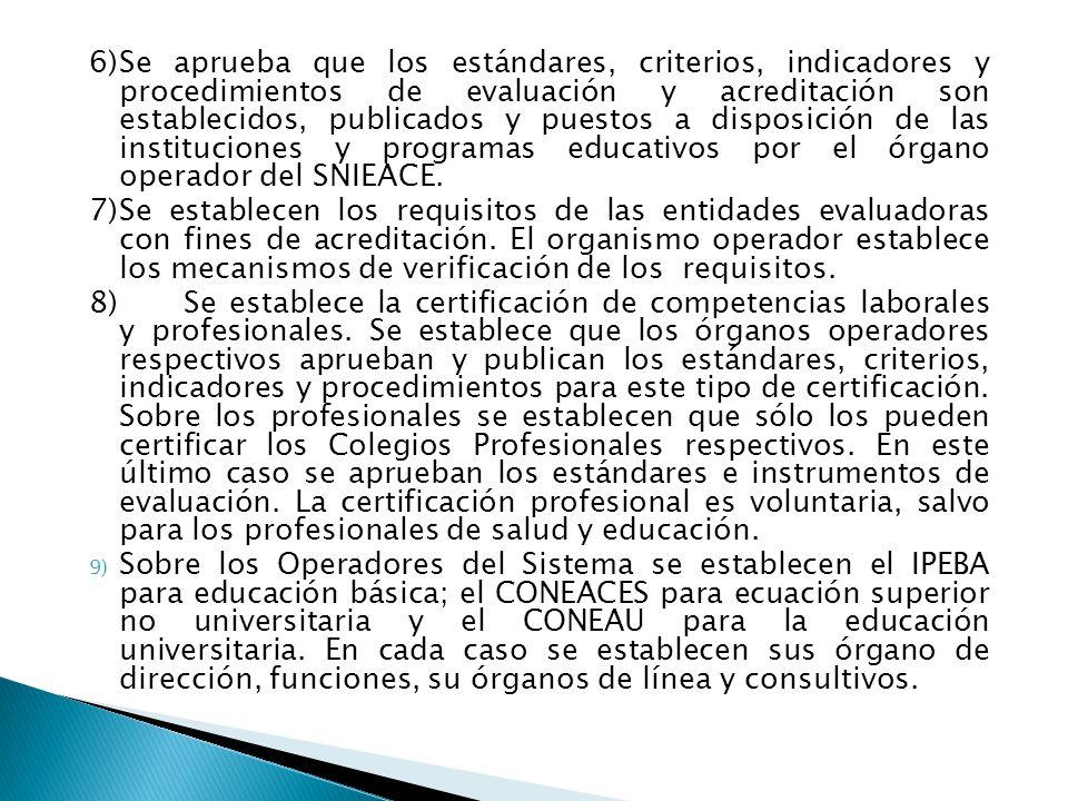 6)Se aprueba que los estándares, criterios, indicadores y procedimientos de evaluación y acreditación son establecidos, publicados y puestos a disposición de las instituciones y programas educativos por el órgano operador del SNIEACE.