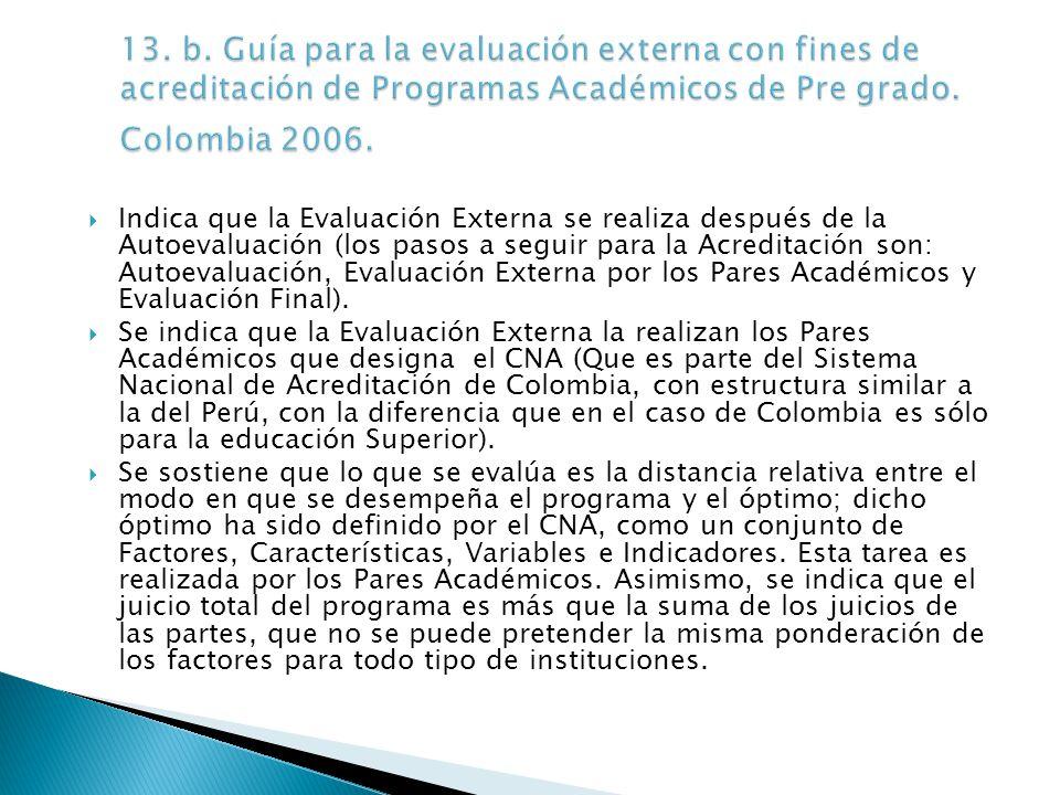 Indica que la Evaluación Externa se realiza después de la Autoevaluación (los pasos a seguir para la Acreditación son: Autoevaluación, Evaluación Externa por los Pares Académicos y Evaluación Final).