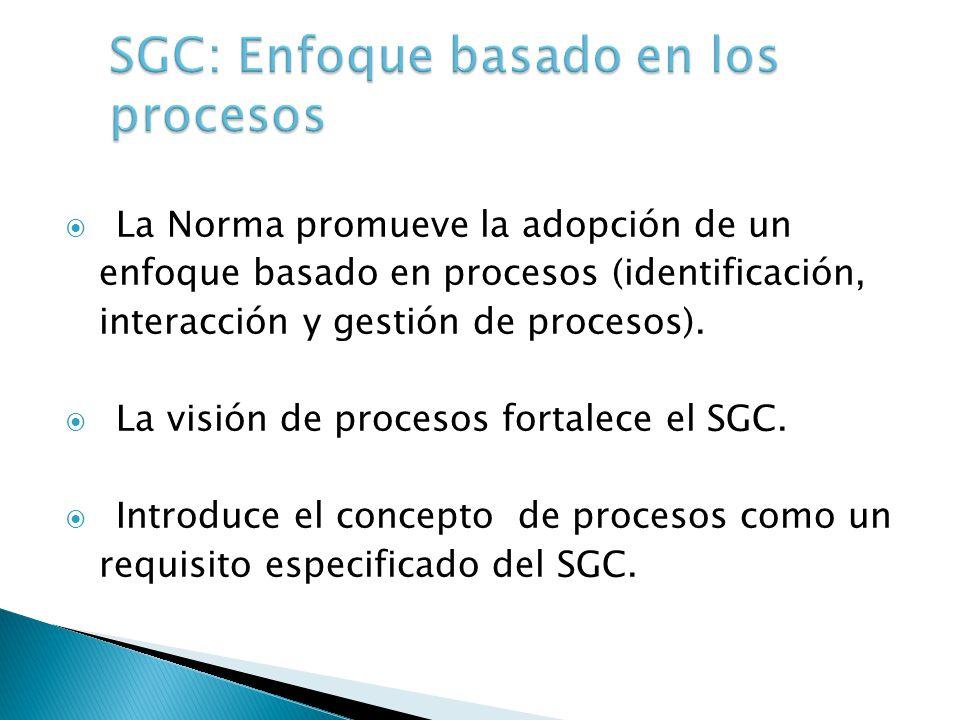 La Norma promueve la adopción de un enfoque basado en procesos (identificación, interacción y gestión de procesos). La visión de procesos fortalece el