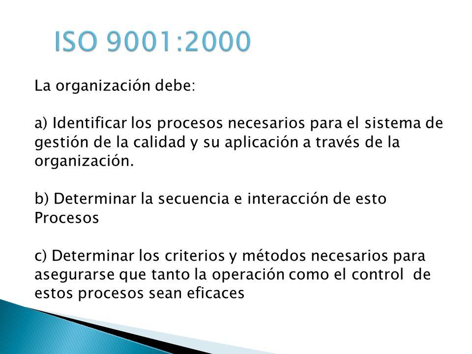 La organización debe: a) Identificar los procesos necesarios para el sistema de gestión de la calidad y su aplicación a través de la organización. b)