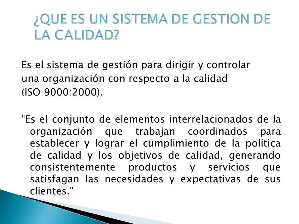 Es el sistema de gestión para dirigir y controlar una organización con respecto a la calidad (ISO 9000:2000). Es el conjunto de elementos interrelacio
