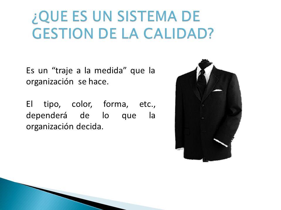 Es un traje a la medida que la organización se hace. El tipo, color, forma, etc., dependerá de lo que la organización decida.