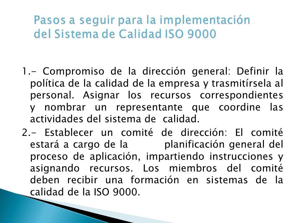 1.- Compromiso de la dirección general: Definir la política de la calidad de la empresa y trasmitírsela al personal. Asignar los recursos correspondie