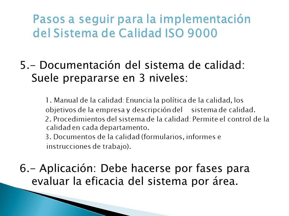 5.- Documentación del sistema de calidad: Suele prepararse en 3 niveles: 1. Manual de la calidad: Enuncia la política de la calidad, los objetivos de