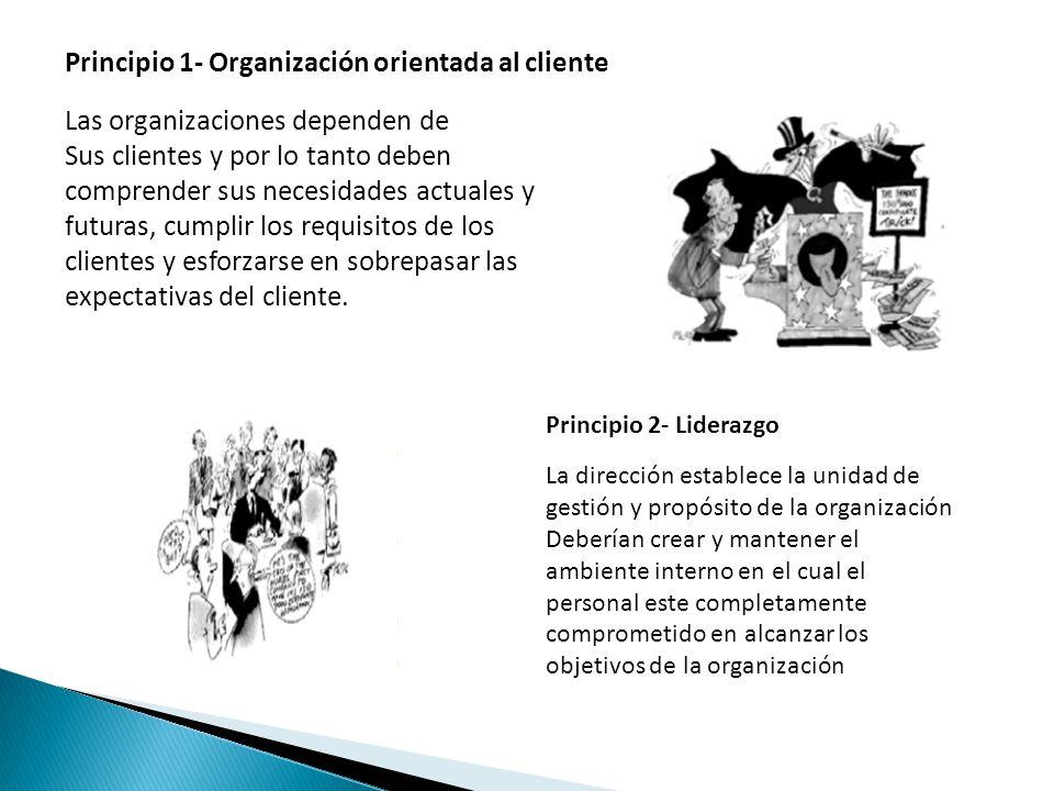Principio 1- Organización orientada al cliente Las organizaciones dependen de Sus clientes y por lo tanto deben comprender sus necesidades actuales y