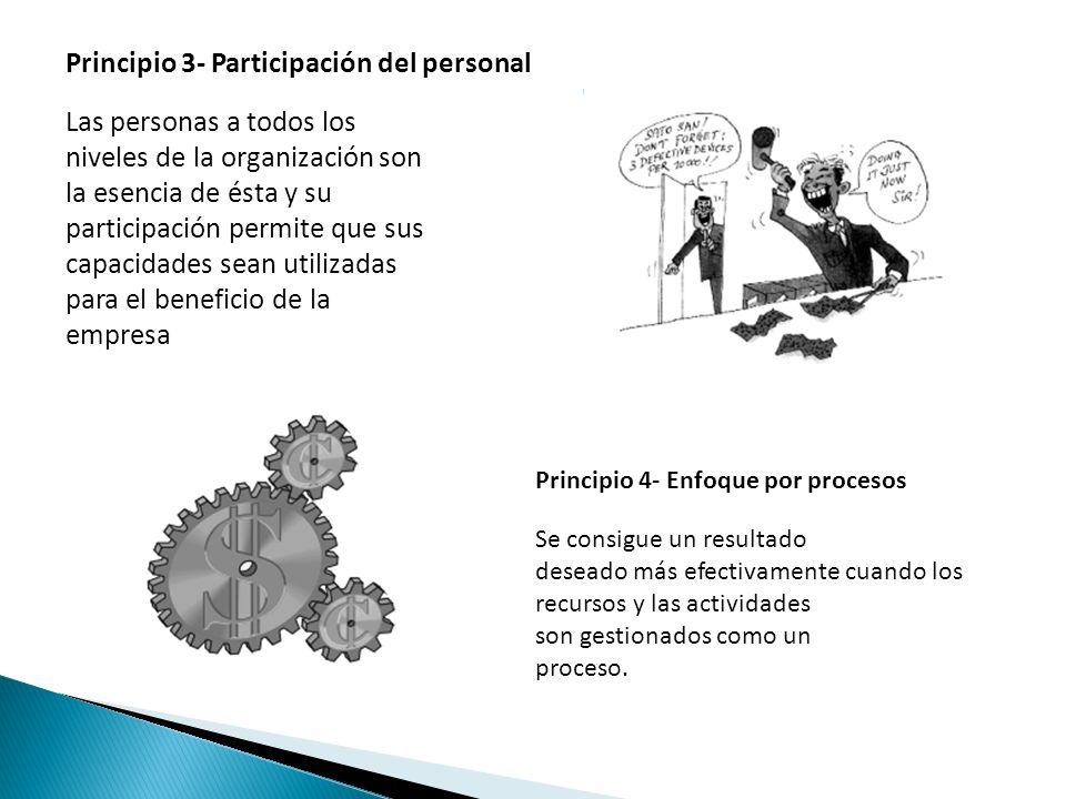 Principio 3- Participación del personal Las personas a todos los niveles de la organización son la esencia de ésta y su participación permite que sus capacidades sean utilizadas para el beneficio de la empresa Principio 4- Enfoque por procesos Se consigue un resultado deseado más efectivamente cuando los recursos y las actividades son gestionados como un proceso.