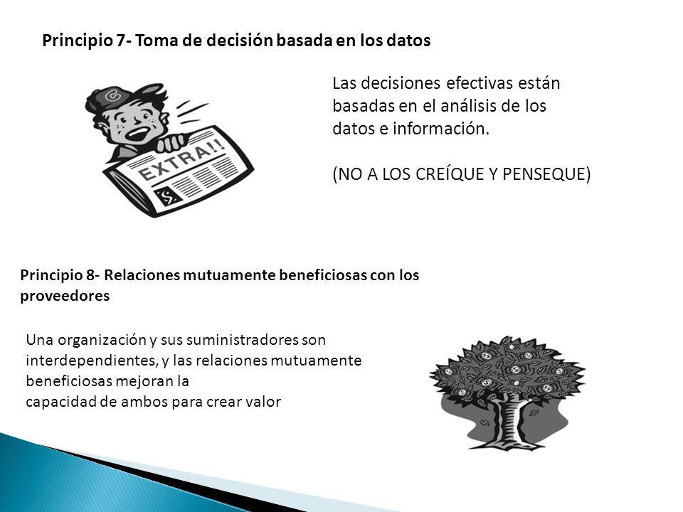 Principio 7- Toma de decisión basada en los datos Las decisiones efectivas están basadas en el análisis de los datos e información. (NO A LOS CREÍQUE