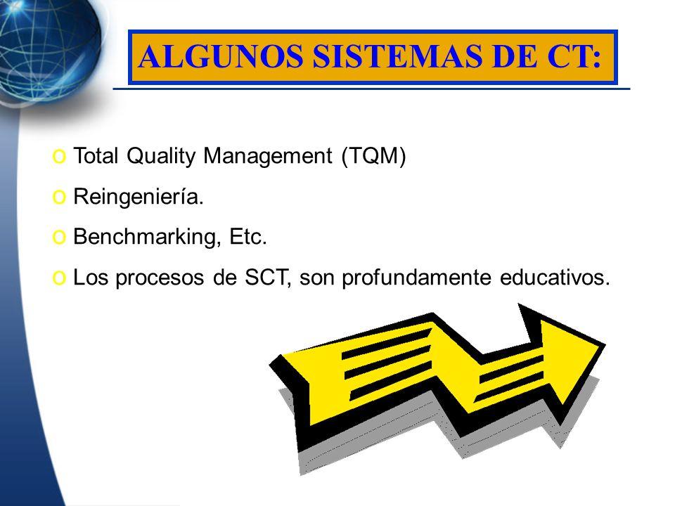 o Total Quality Management (TQM) o Reingeniería. o Benchmarking, Etc. o Los procesos de SCT, son profundamente educativos. ALGUNOS SISTEMAS DE CT:
