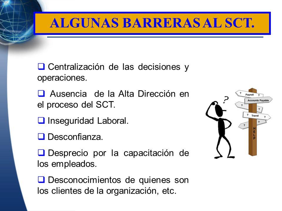 Centralización de las decisiones y operaciones. Ausencia de la Alta Dirección en el proceso del SCT. Inseguridad Laboral. Desconfianza. Desprecio por