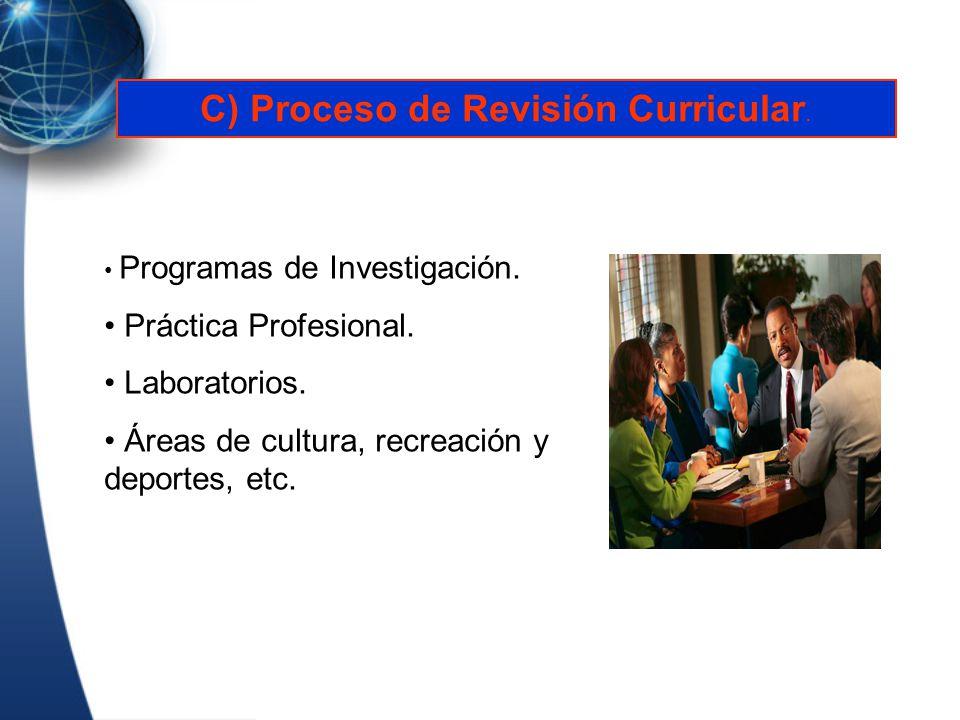 Programas de Investigación. Práctica Profesional. Laboratorios. Áreas de cultura, recreación y deportes, etc. C) Proceso de Revisión Curricular.