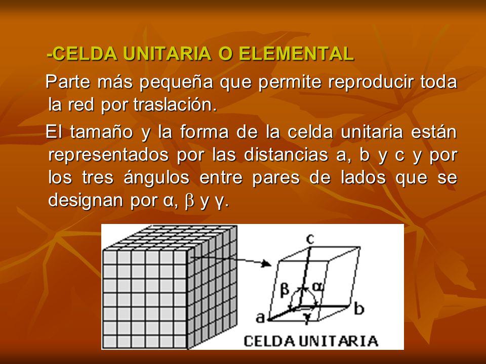 -CELDA UNITARIA O ELEMENTAL -CELDA UNITARIA O ELEMENTAL Parte más pequeña que permite reproducir toda la red por traslación.