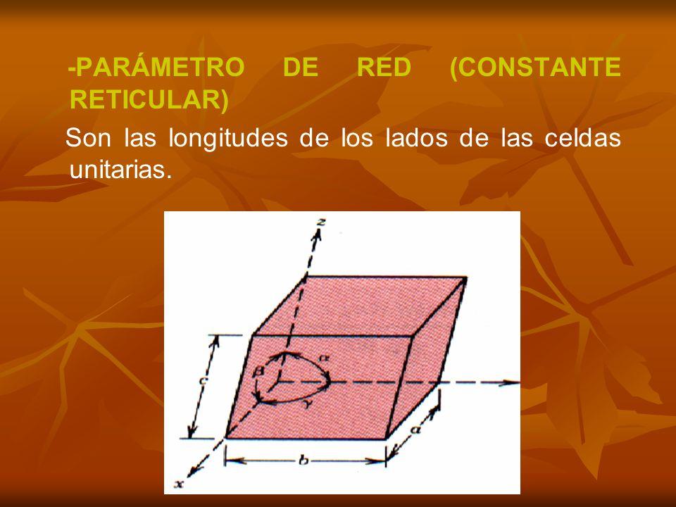 -PARÁMETRO DE RED (CONSTANTE RETICULAR) Son las longitudes de los lados de las celdas unitarias.